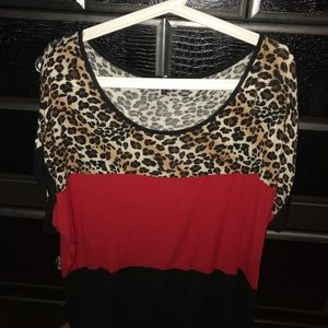 Leopard, red & black color block top